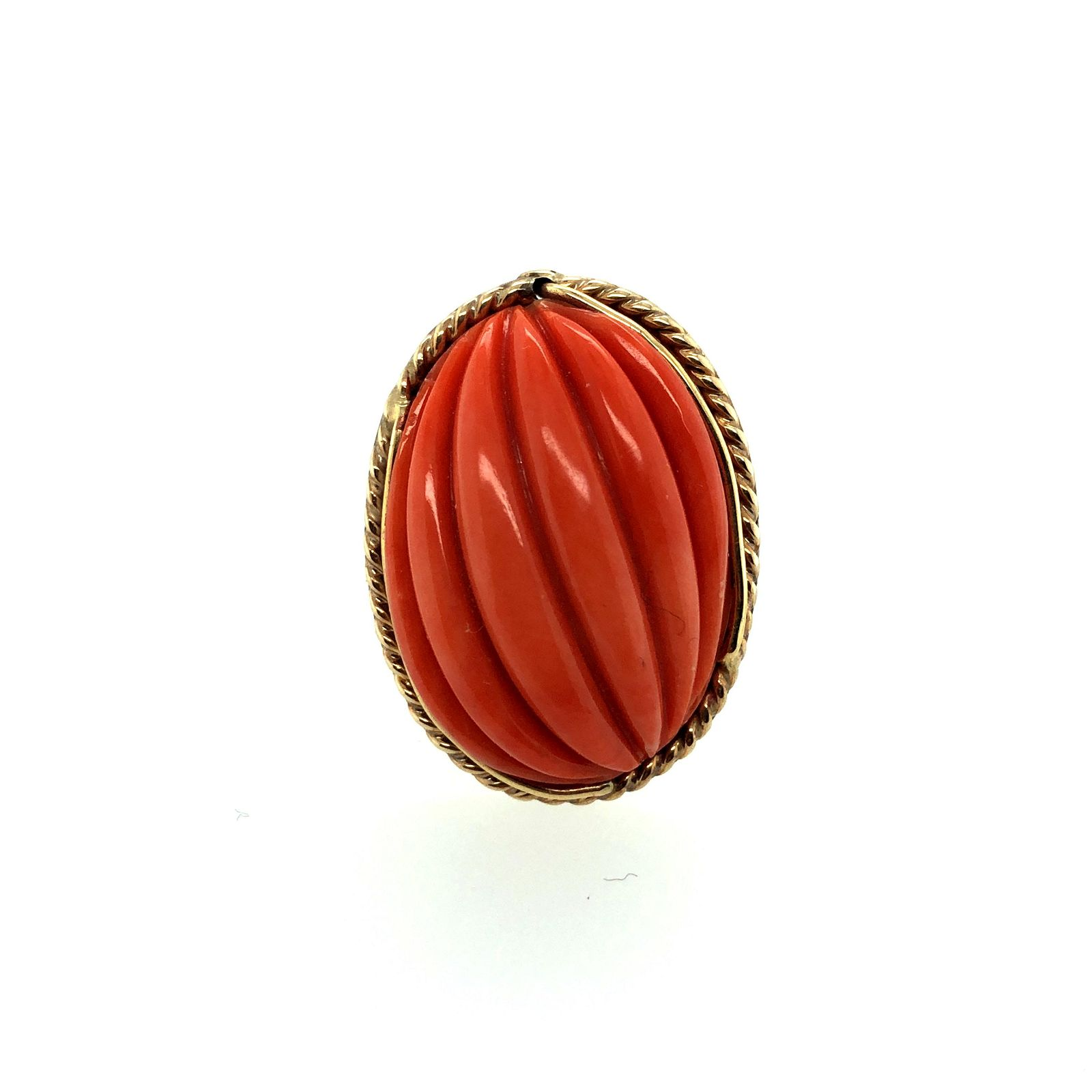14K Yellow Gold & Coral Ring