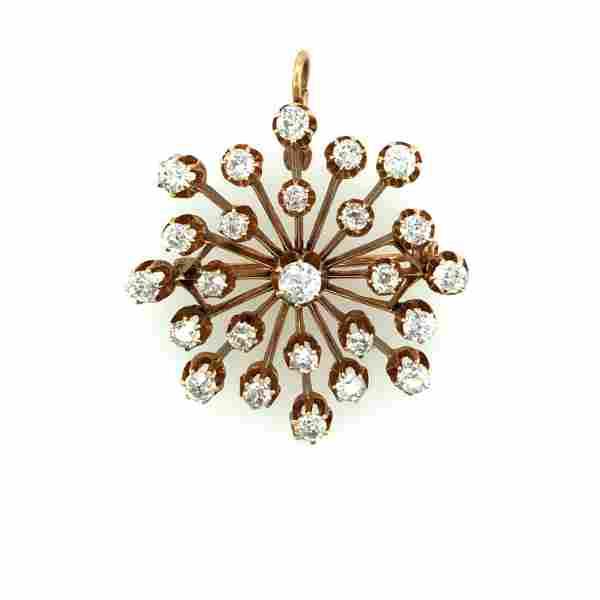 Victorian 14K Yellow Gold & Diamond Pendant Brooch Pin
