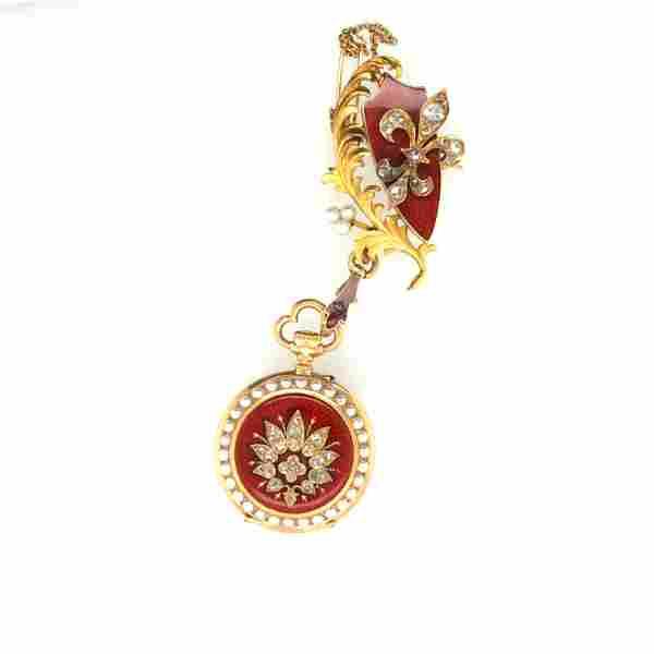 Victorian 18K Yellow Gold Diamond & Pearl Pocketwatch