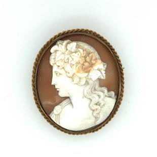 14 k yellow gold shell cameo brooch