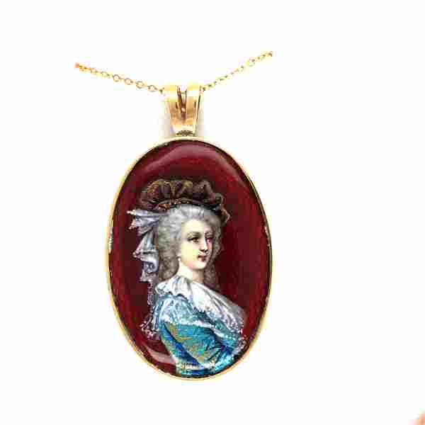 14 k yellow gold french limoges enamel necklace