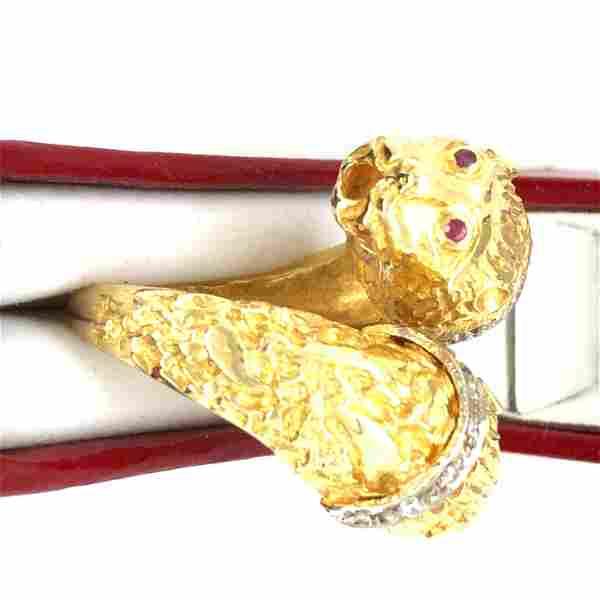 18 K yellow gold diamond duble panter head ring