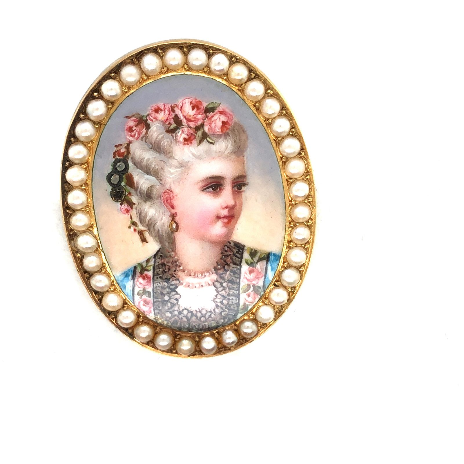 French 14 k. yellow gold enamel and pearl brooch