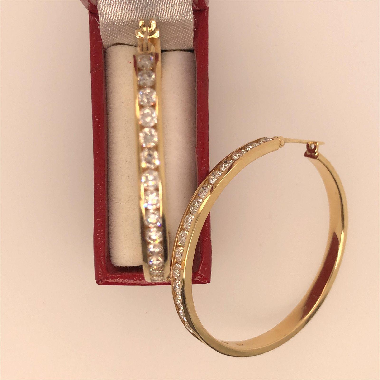 14 K yellow Gold Diamonds Hoop Earrings