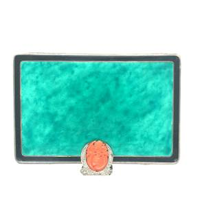 Art Deco, Platinum, Malachite compact