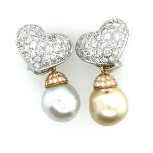 18K W/Y Gold +Diamonds+ south sea Pearl Earrings.