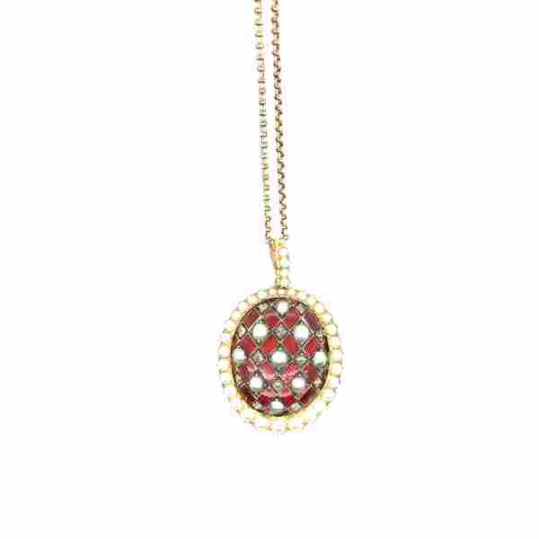 14K Y/G Diamonds and pearls and red enamel necklace.