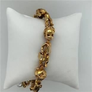 14K Yellow Gold Rusu Charm Bracelet