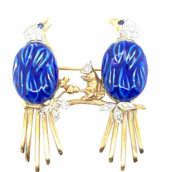 14K Yellow Gold Diamond and Blue Enamel double Bird