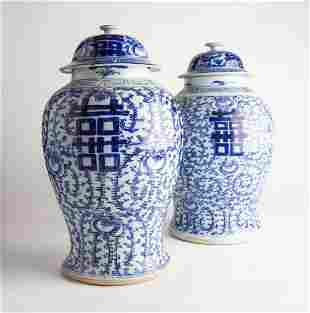 Pair of Early 20th C Chinese Ginger Jars/Urns