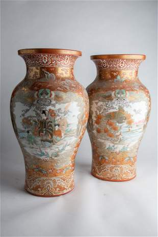 Pair of Early 20th C /Meiji period Handpainted Vases