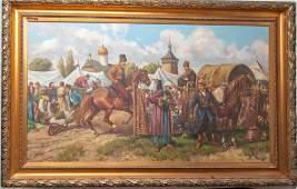 "Leszek Piasecki, Orientalist Painting 26.5""h x 46""w"