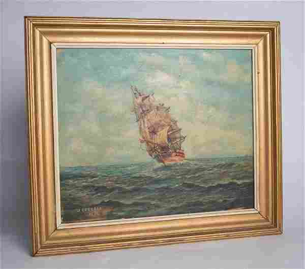 "Sailing Ship Oil Painting by J. Leonard 1934 15""x17"""