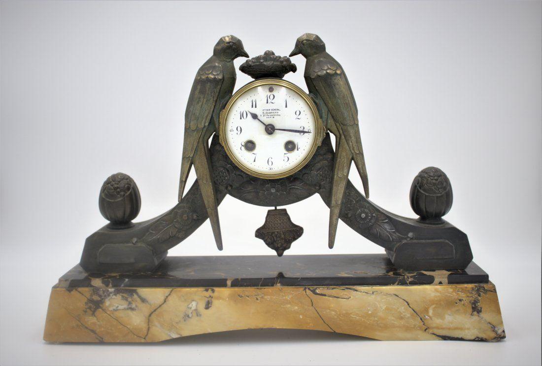 Art Deco Marble Mantle Clock - M. Schnerb Paris