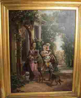 "English Oil Painting by J. Hariett 1874 - 27.5"" x 35.5"""