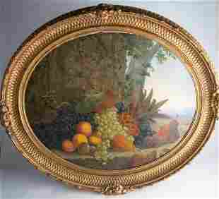 "19th C Still Life Fruit Painting 24.5""x 29"""