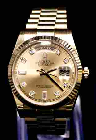 36mm Rolex Oyster Day-Date 18kt yellow gold -2017