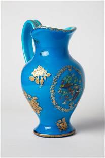 CZECH Bohemian Turquoise Art glass Gold Gilt Pitcher