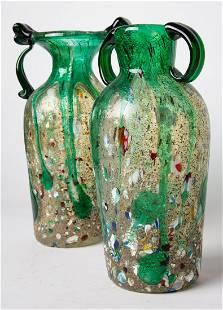 PAIR of Italian MURANO ART Glass Vases