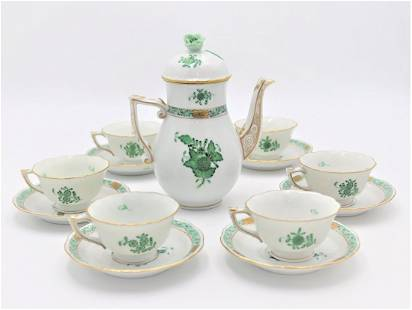 Herend Hungary Chinese Green Bouquet Tea set for 6
