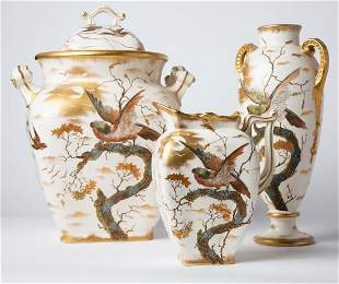 Rare Asian-Inspired Royal BONN German Porcelain Vases