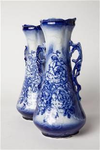 Pair of Antique English Flow Blue Vases