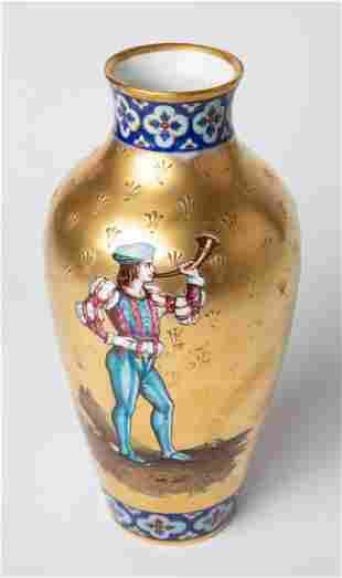 19th C Austrian Porcelain Vienna Gold Gilt Vase
