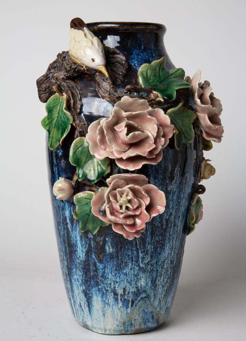 Chinese Blue Glaze Porcelain Vase w Flower & Bird