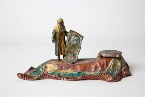 19thC Coronet Orientalist Austrian Bronze Inkwell