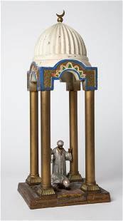 COLD PAINTED AUSTRIAN ORIENTALIST METALLWORK LAMP