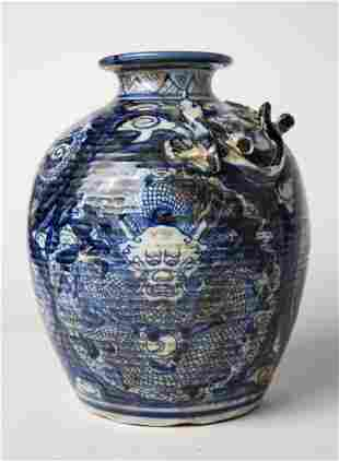 20th C BLUE & WHITE POTTERY CHINESE MEIPING URN/VASE