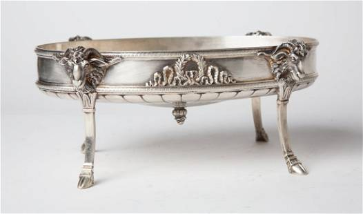 19th C FRENCH EMPIRE SILVER FLORAL CENTERPIECE