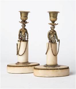 ART DECO Pair of Brass Candlesticks