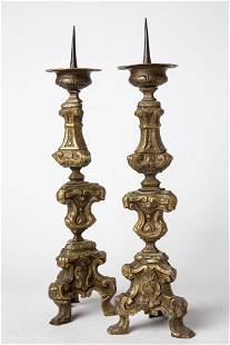 Antique Pair of Brass Portuguese Pricket Candlesticks