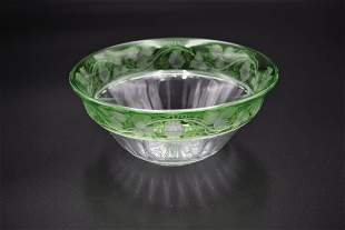 Tuthill Crystal Cut & Etched Grapes Pattern Bowl