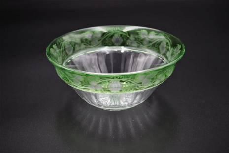 Sinclaire Green Cut & Etched Glass Grapes Pattern Bowl