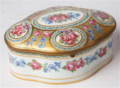 Large Antique French Hand Painted Porcelain Jewelry Box