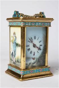 Antique Italian Enameled Brass Travel Clock