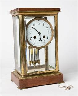 1930's American Neoclassical Glass Case Table Clock