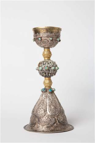 Early 20th Century Oriental Religious Silver Chalice