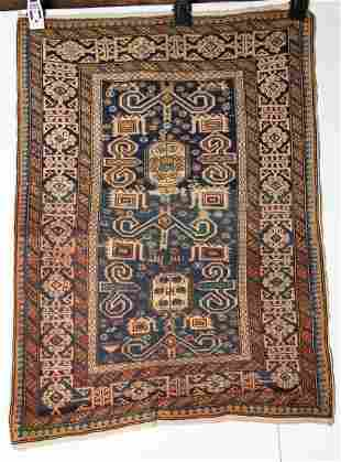 Antique 19th Century Caucasian Perpedil Rug 2'7 x 3'11