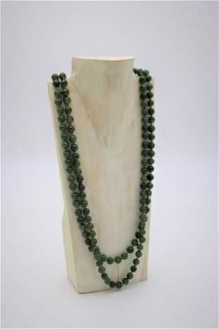 Natural Green Jadeite Gemstone Round Beads Necklace