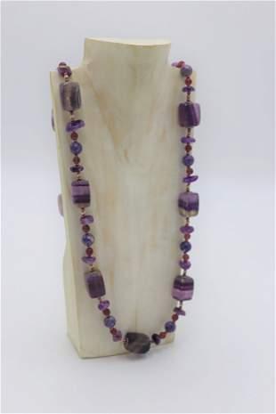 Vintage Purple Gemstone Necklace c.1980's
