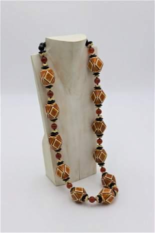 Vintage Designer Retro Bead Necklace c.1970's
