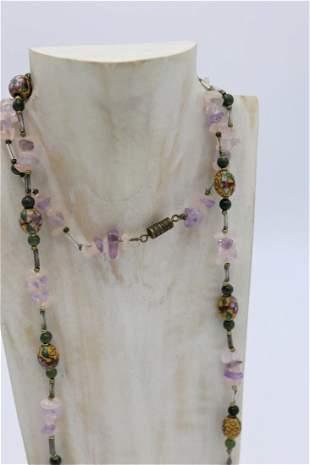 Chinese Gemstone & Cloisonne Enamel Inlay Bead Necklace