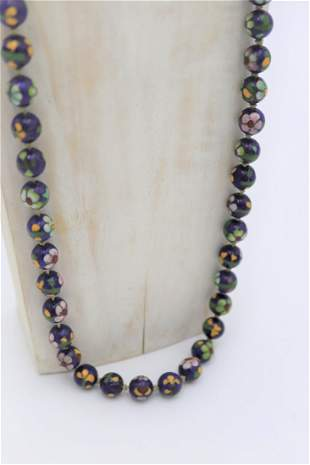 Vintage Chinese Cloisonne Necklace Enamel Bead Necklace