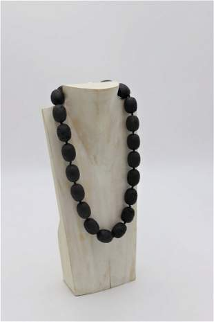 Large Black Volcanic Beads Necklace