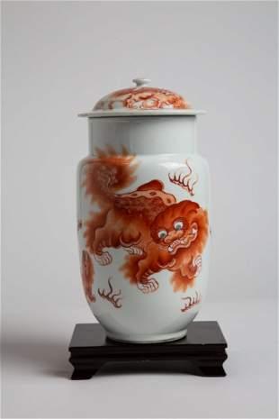 Chinese Foo Dog Lantern Vase with Lid - 19th Century