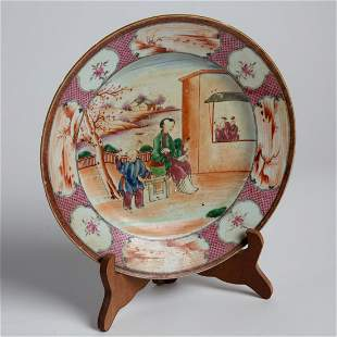 Early 20th C Hand Painted Motherhood Chinese Dish