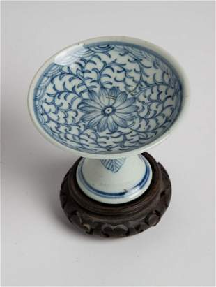 Early 20th C Chinese Blue & White Tray Lotus Design
